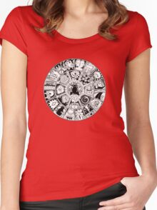 Cat Mandala Black and White Women's Fitted Scoop T-Shirt