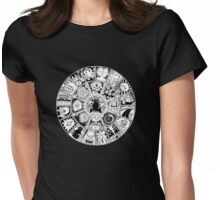 Cat Mandala Black and White Womens Fitted T-Shirt