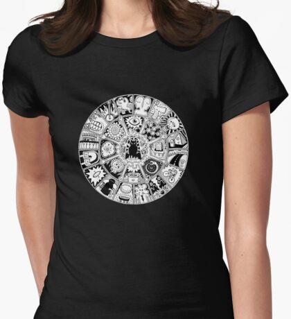 Cat Mandala Black and White Womens Fitted T-Shirt