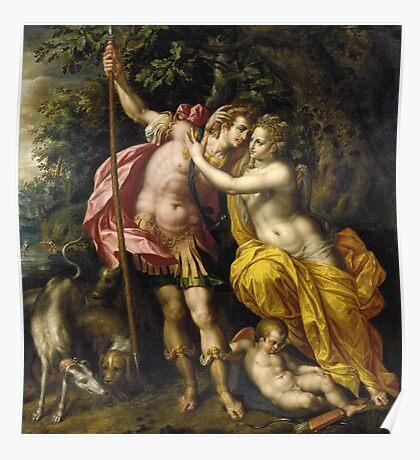 Vintage famous art - Hendrick De Clerck - Venus And Adonis Poster
