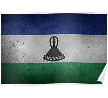 Lesotho Flag Grunge Poster