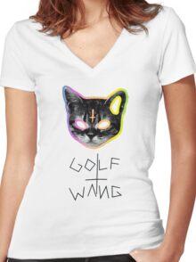 Golf Wang cat Women's Fitted V-Neck T-Shirt