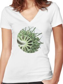 Green Lace Women's Fitted V-Neck T-Shirt