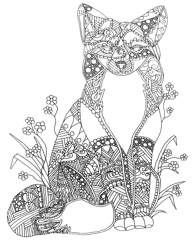 Fox Abstract Animal Art Adult Coloring By ArtistryByLM Redbubble