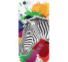 Zebra with Colorful Splashes iPhone Case/Skin