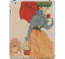 Mother with daughter, art nuevo, art deco style, kid with woman - vintage fashion art - Henri Evenepoel - At The Square iPad Case/Skin