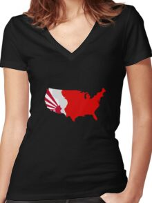 The Man in the High Castle Map Women's Fitted V-Neck T-Shirt