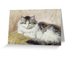Vintage famous art - Henriette Ronner - A Cat Greeting Card