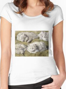 Vintage famous art - Henriette Ronner - Studies Of A Long-Haired White Cat Women's Fitted Scoop T-Shirt