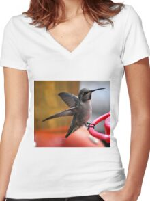 FEMALE ANNA'S ON PERCH Women's Fitted V-Neck T-Shirt