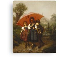 Vintage famous art - Henry Mosler - Children Under A Red Umbrella Canvas Print