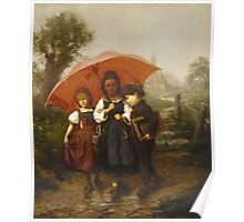 Vintage famous art - Henry Mosler - Children Under A Red Umbrella Poster