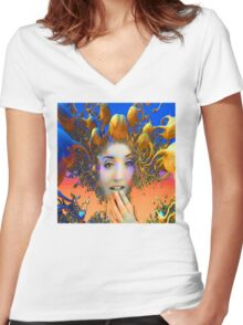 Organic Medusa Women's Fitted V-Neck T-Shirt