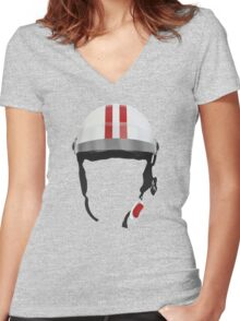 Striped Scooter Kpop Helmet Red Women's Fitted V-Neck T-Shirt