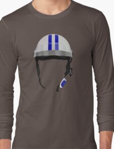 Striped Scooter Kpop Helmet Blue Long Sleeve T-Shirt