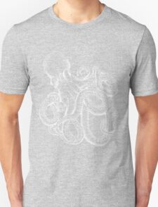 Octopus White Line Art Unisex T-Shirt