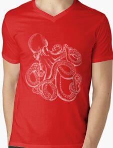 Octopus White Line Art Mens V-Neck T-Shirt