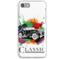 Vintage Retro Classic Old Car with colorful ink iPhone Case/Skin