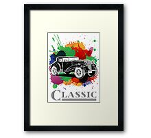 Vintage Retro Classic Old Car with colorful ink Framed Print