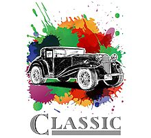 Vintage Retro Classic Old Car with colorful ink Photographic Print