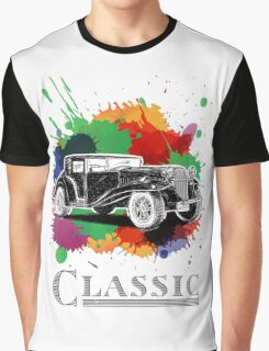 Vintage Retro Classic Old Car with colorful ink Graphic T-Shirt