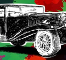 Vintage Retro Classic Old Car with colorful ink Sticker