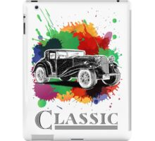 Vintage Retro Classic Old Car with colorful ink iPad Case/Skin