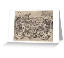 Hieronymus Bosch - The Temptation Of Saint Anthony 1561 Greeting Card