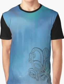 Octopus - Blue Background Graphic T-Shirt