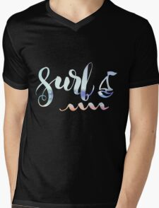 Surf lettering on a  defocus blurred summer background Mens V-Neck T-Shirt