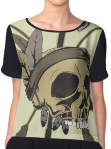 Indian Skull - Native American Skull with Feather and Arrows Women's Chiffon Top