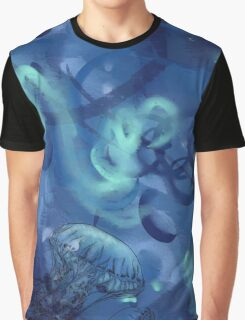 Jellyfish Line Art - Blue Graphic T-Shirt
