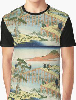 Vintage famous art - Hokusai Katsushika - Eight Part Bridge, Province Of Mucawa, Japan Graphic T-Shirt