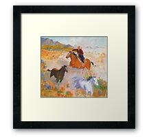 Mustang round-up Framed Print