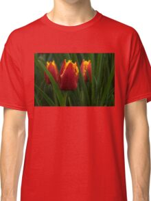 Cheerfully Wet Red and Yellow Tulips Classic T-Shirt
