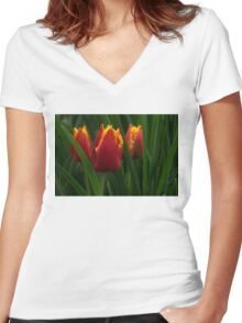 Cheerfully Wet Red and Yellow Tulips Women's Fitted V-Neck T-Shirt