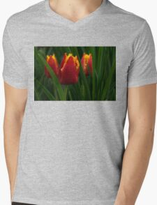 Cheerfully Wet Red and Yellow Tulips Mens V-Neck T-Shirt