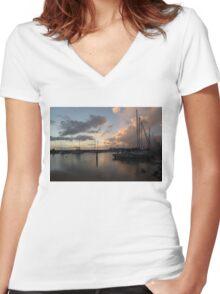 Boats and Clouds - Waikiki, Honolulu, Hawaii Women's Fitted V-Neck T-Shirt