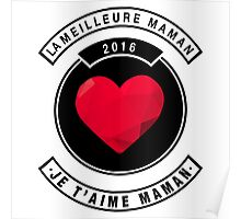 je t'aime maman - blanc Poster