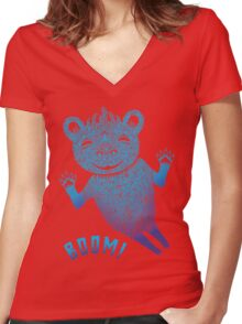 Turquoise Bear Goes Boom Women's Fitted V-Neck T-Shirt