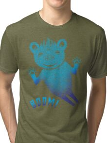 Turquoise Bear Goes Boom Tri-blend T-Shirt