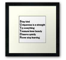 Sutton Foster - Life Lessons Acrostic | White Framed Print
