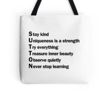 Sutton Foster - Life Lessons Acrostic | White Tote Bag