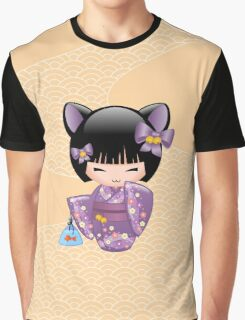 Japanese Nekomimi Kokeshi Doll Graphic T-Shirt