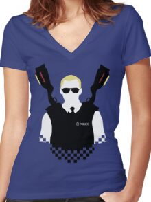 Here Come The Fuzz Women's Fitted V-Neck T-Shirt