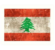 Vintage Aged and Scratched Lebanese Flag Art Print