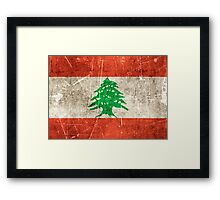 Vintage Aged and Scratched Lebanese Flag Framed Print