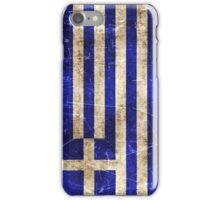 Vintage Aged and Scratched Greek Flag iPhone Case/Skin