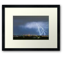 Northeast Colorado Lightning Strike and City Lights Framed Print