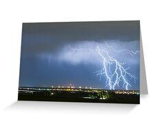 Northeast Colorado Lightning Strike and City Lights Greeting Card